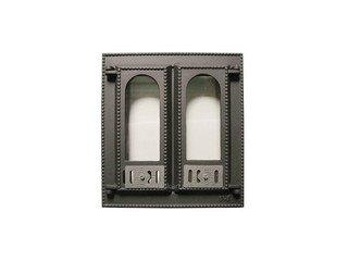 Дверца каминная со стеклом 408 SVT, (400х365) 310х275, 2-х створчатая, (фин)