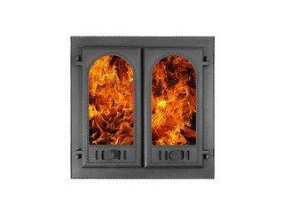"""Дверца каминная ДК-8С """"Горница-2"""" (600х600х122) 500х500х65, под СТЕКЛО, двухстворчатая (Рубцовск)"""