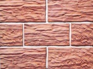 Клинкерная плитка фасадная Скол дерева Макси прямая Терракот Рядовая 123x263 толщина
