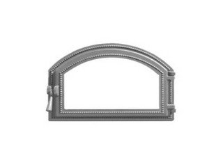 Дверца каминная Везувий 222, (496х344) 407х273, со стеклом (Антрацит)