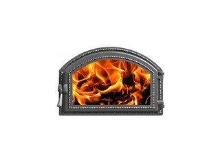 Дверца каминная Везувий 222, (496х347) 407х273, со стеклом (Антрацит)