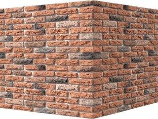 "315-55 White Hills ""Брюгге брик"" (Brugge brick), оранжевый, угловой, Нормативная ширина шва 1,2 см."