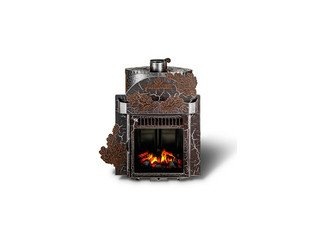 Печь банная F Малютка Паровая (экран) закр. каменка, кожух: Дуб Антик