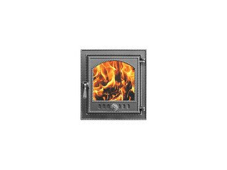 Дверца каминная Везувий 210, (400х370) 325х290, со стеклом (Антрацит)